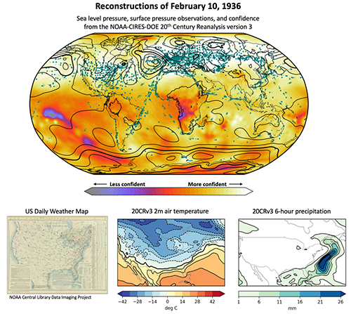 Reconstructions of the weather on February 10, 1936 at 12 UTC