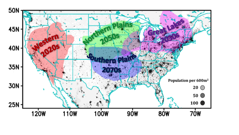 Heat wave regions of the US