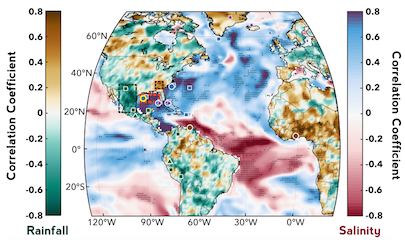 ecadal-scale correlations between northern Gulf of Mexico and global sea surface salinity and continental preciptiation