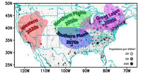 distribution of heat waves and when climate change is projected to become the dominant cause of heat waves in the continental US