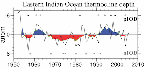 Time series of eastern Indian Ocean thermocline depth in an ocean model hindcast.